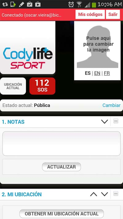 Codylife Sport datos de usuario